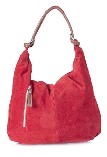 Real Italian Handmade Suede Leather Large Hobo Shopper Shoulder Bag Purse (Red)