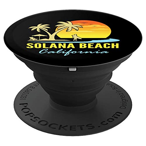 Solana Beach, California Sunset Palm Trees Ocean - PopSockets Grip and Stand for Phones and Tablets