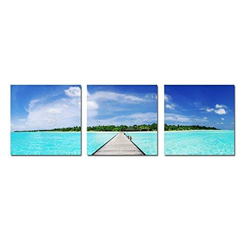 "Maldives - 24""x24"" - 3 Panels - Print On Cnvas HD WaterProof High Gloss Made In USA, 2016 by Art Mirage Gallery"