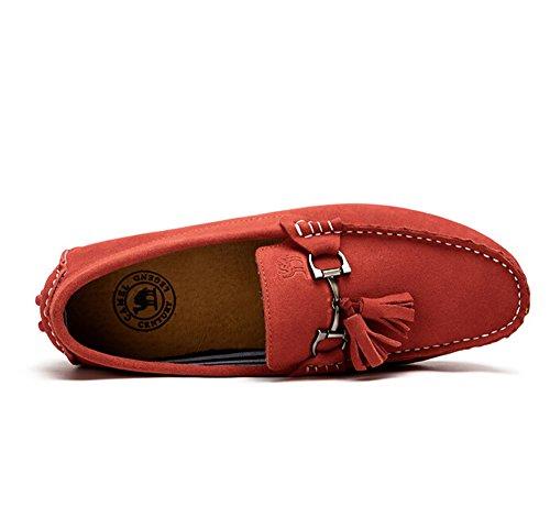 Cammello Uomo Guida Mocassino Scarpa Casa Colore Rosso Taglia 43 M Eu