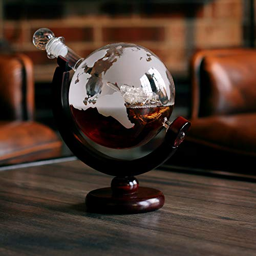 Whiskey Globe Decanter (28 Oz) Etched World Globe Decanter Set for Liquor, Bourbon, Vodka in Premium Gift Box - Home Bar Accessories for Men - Perfect for All Kinds of Alcohol Drinks