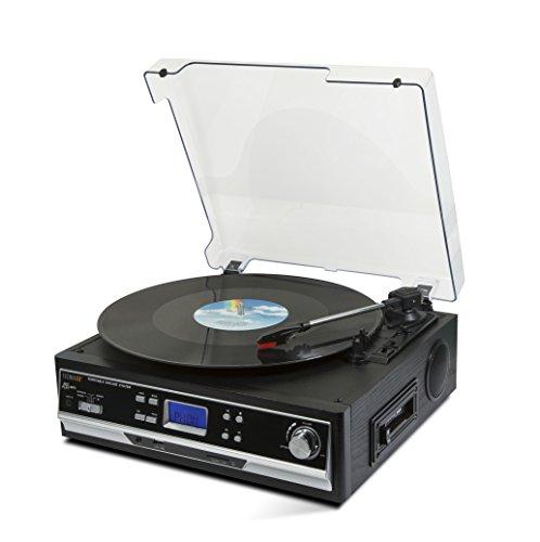 Technaxx 4717 Bluetooth platen/cassettedigitaliser TX-22+ van LPs en audiocassettes zwart