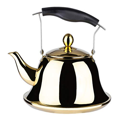 Whistling Tea Kettle with Infuser for Loose Leaf Tea Stainless Steel Modern Whistle Teapot Teakettle Stovetop Induction Gas Stove Top Tea Maker Water Pot Gold 2 Quart/Liter - Gas Water Boiler
