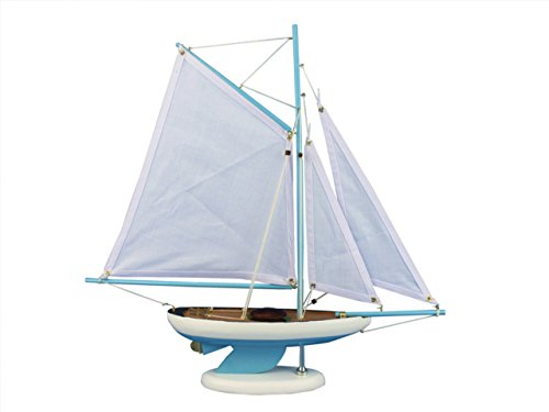 Hampton Nautical  Wooden Bermuda Sloop Light Blue Model Sailboat Decoration 17