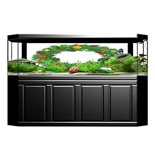 JiahongPan Fish Tank Background Decor Static Image Backdrop Wallpaper Sticker Cling Decals Wreath Evergreen with Candy Cane Stockings Mistletoe Wallpaper Sticker Background Decoration L29.5 x H19.6 (Stocking Evergreen)
