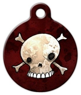 Skull and Crossbones - Custom Pet ID Tag for Cats and Dogs - Dog Tag Art - LARGE SIZE