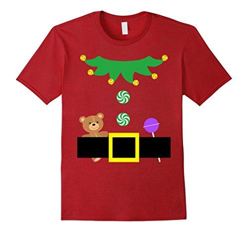 Santa Outfits For Men (Mens Christmas Santa Elf Outfit Gift Costume Cute Shirt for Kids Medium Cranberry)