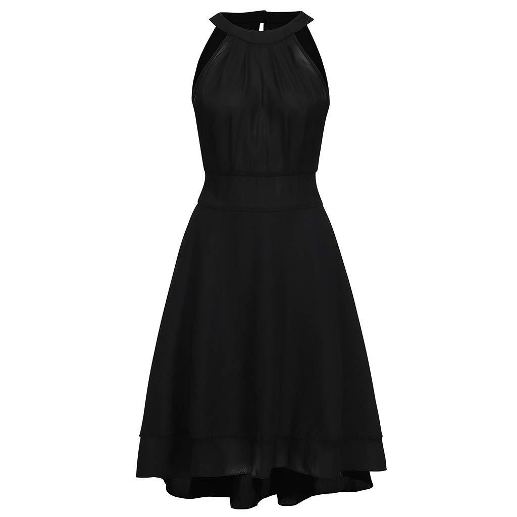 Robe Longue Femme Grande Taille sans Manches Halter Dress Couleur Pure Elegant Vintage Robe D/écontract/ée Cocktail Soir/ée Mini Jupe /ét/é V/êtements Marlene1988