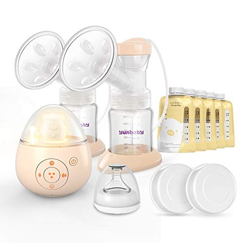 Double Electric Breast Pump, Yunbaby S19 Portable Breastfeeding Pump Ultra Quiet Hospital Strength & 6 Phase Mode, Adjustable Speed & Nightlight Soother Music