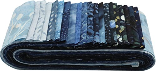 Hoffman Bali Batik Quilt Fabric (Bali Batiks Denim Bali Poppy 20 2.5-inch Strips Jelly Roll Hoffman Fabrics BPP-65-DENIM)