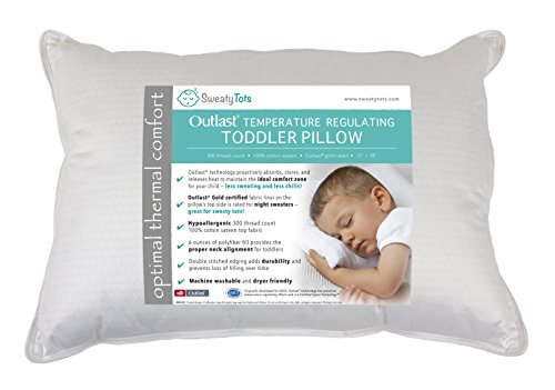 Toddler Pillow for Hot or Sweaty Sleepers - 13 x 18, White, 300TC Cotton Sateen, Features Outlast(R) Temperature Regulating Technology to Reduce Overheating (Mid Loft) ()
