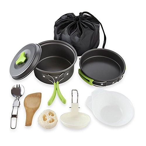 Wuudi Outdoor Portable Camping Pot Set Multifunctional Cooking Set for Camping/Hiking Picnic Outdoor Travel Cookware Kits