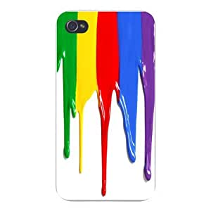 Apple Iphone Custom Case 5 5s Snap on - Colorful Rainbow Paint Dripping Down White Wall
