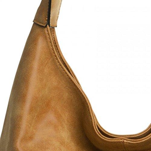 Caspar TS1015mujeres Vintage bolso bandolera coñac