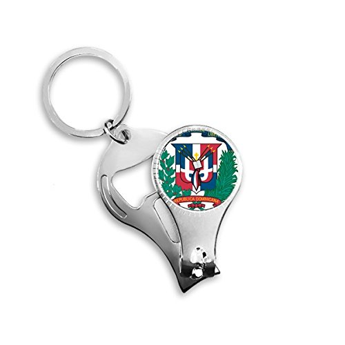 Dominican Republic National Emblem Country Symbol Mark Pattern Metal Key Chain Ring Multi-function Nail Clippers Bottle Opener Car Keychain Best Charm Gift