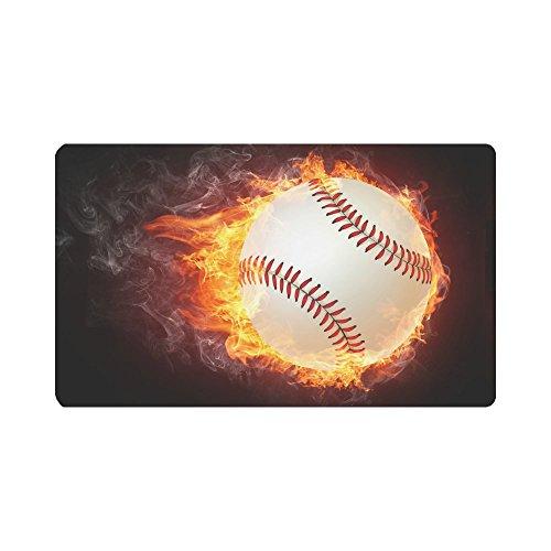 InterestPrint Cool Sports Baseball Ball in Fire Flames Doormat Non-Slip Indoor And Outdoor Door Mat Rug Home Decor, Entrance Rug Floor Mats Rubber Backing, Large 30