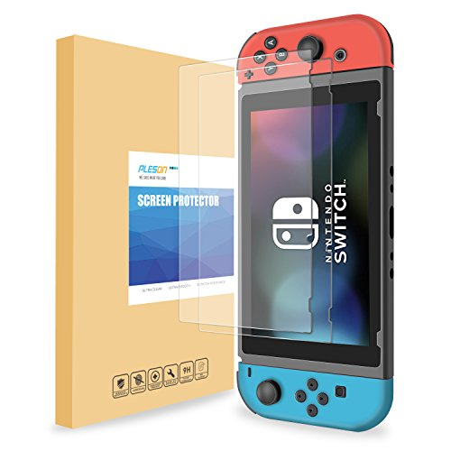 Buy cheap pleson tempered glass screen protector for nintendo switch 2017 pack works while docking 26mm hardness