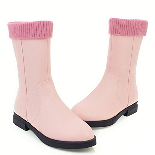 Fermeture Femmes Pink Bottes Eclair TAOFFEN Bottes Fermeture TAOFFEN Eclair Femmes 60F0wq