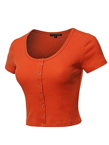 - Scoop Neck Button Placket Short Sleeves Ribbed Crop Top Rust S