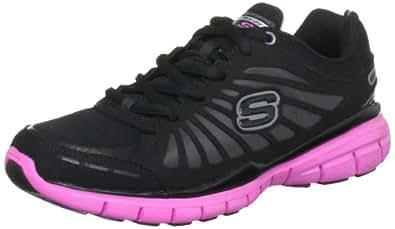 Skechers Tone Ups Run Womens Sneakers Black/Hot Pink 9