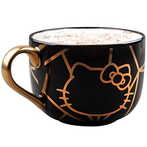 Hello Kitty Ceramic Coffee Latte Mug - Geo Glam Pinache Black and Gold Design - Sanrio - 20 oz from Seven20