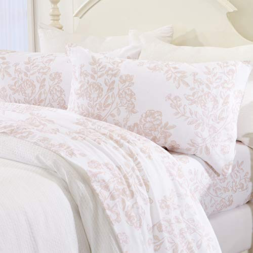 Great Bay Home Extra Soft Toile 100% Turkish Cotton Flannel Sheet Set. Warm, Cozy, Luxury Winter Bed Sheets. Belle Collection (King, Blush Pink) (Pink Bedding Toile)