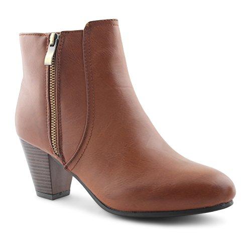Footwear Sensation - Botas para mujer - Brandy Gold Zip Up