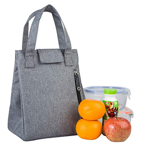 Insulated Lunch Bag Thermal Lunch Box Stylish Lunch Food Handbag Container Organizer for Office Women Men Student Kid Teen Roomy Lunch Tote with Zip Pocket Wide Handle Cooler Bag (Light Grey)