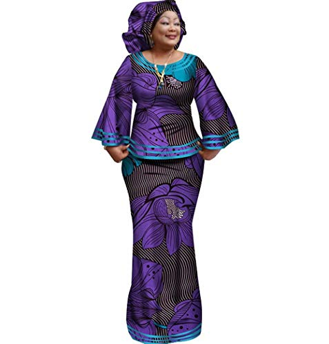 Womens African Cotton Skirt Set Bell-Sleeve Tops & Skirt & Headwrap 3 Piece