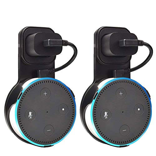 Outlet Wall Mount Hanger Holder Stand for Amazon Echo Dot 2nd Gen Without Mess Wires Or Screws, Plug in Study, Kitchen, Bedroom, Bathroom. (2pcs, Black) by Litetop