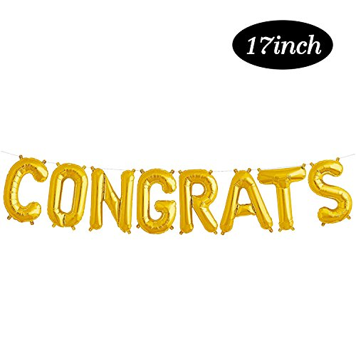 Congrats Gold Balloon Banner | 2018 Graduation Foil Balloon Decorations | Mylar Balloons for Birthday, Promotion, Anniversary, Wedding | Large Size, 17inch