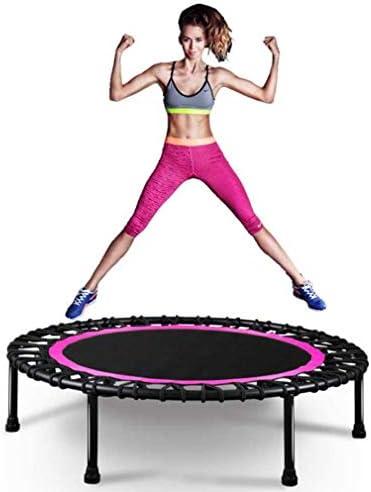 QZ プロフェッショナルフィットネストランポリンラウンド折りたたみ式40インチ、大人と子供に適して、耐荷重150kg (Color : Pink)