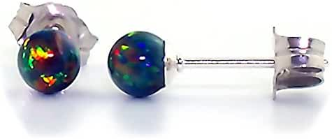 Trustmark 925 Sterling Silver 4mm Black Created Opal Ball Stud Post Earrings, Aurora