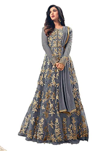 Blue Soft Net Fabric Heavy Embroidered Designer Long Anarkali Salwar Suit (Medium) (Blue Suit Salwar)