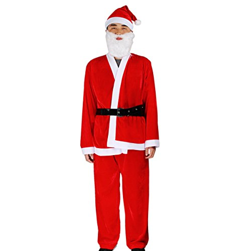 Braided Beard Costume (Evaliana Velvet Santa Claus Christmas Costume Xmas Suit Outfits Dress Braided Hat Top Pants)