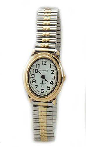 Ladies Classic Dainty Oval Case Two Tone Stretch Band Watch