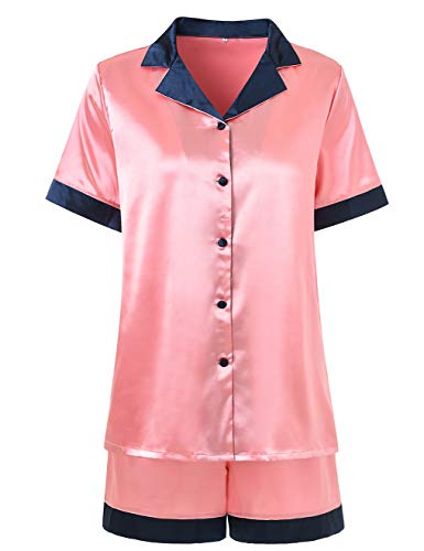 Petite Satin Pajamas - Pajamas Women Shorts Set Silky Button Up Comfy Short Sleeve Petite Satin Pyjamas