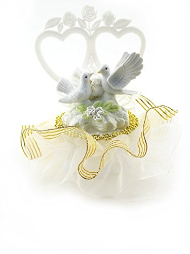 Double Heart Cake Top with Love Doves Decorated in Gold and White 8
