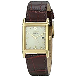 Citizen Men's BW0072-07P Eco-Drive Gold-Tone Stainless Steel Watch With Brown Leather Band