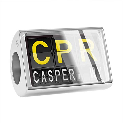 NEONBLOND Charm CPR Airport Code for Casper, WY 925 Sterling Silver Bead