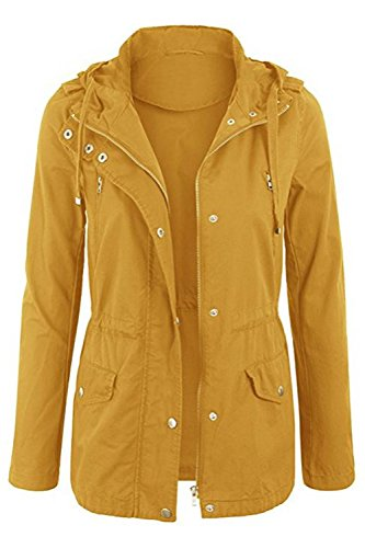 FASHION BOOMY Womens Zip Up Military Anorak Jacket W/Hood (Large, Mustard_A)