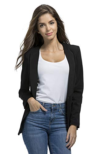 JHVYF Womens Casual Basic Work Office Cardigan Tuxedo Summer Blazer Open Front Boyfriend Jacket Black Tag L/US 4