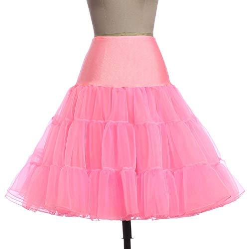 Femme Jupes Fluffy Pettiskirt pour Mariage Rtro Vintage Femmes Jupe Robe, Jupon Pink 5