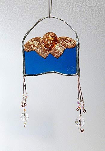 Die-cast brass Cherub on blue Stained Glass, Faceted Crystal Glass Beads