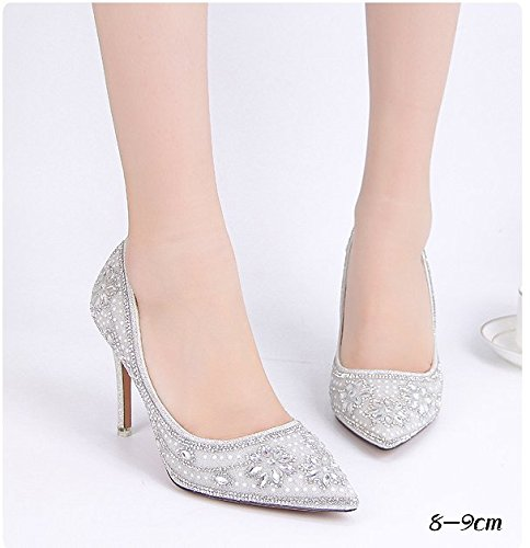 with Mouth 8 Heel Pointed White Fine Star Shoes Toast Prom 6 Sandals Wedding Banquet Bridal 9Cm VIVIOO Female Shallow Dress Crystal Shoes Shoes wzFq1xC