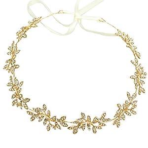 Diamond Garland Bridal Wedding/Sweet Sixteen/Flower Girl/Quinceanera Crown Headdress With Ribbon (Gold) 83