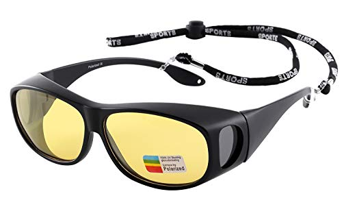 Night Vision Glasses HD Yellow Polarized for Driving Wrap Around Sunglasses Over Prescription Eyewear Anti Glare (Cloth & Strap ()
