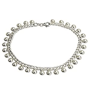 NOVICA .925 Sterling Silver Handmade Chain Charm Anklet 'Palace Charms', 10.5""