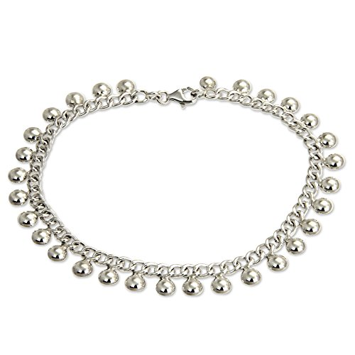 NOVICA .925 Sterling Silver Handmade Chain Anklet 'Palace Charms', 10.5""
