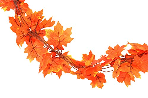 (Forever Flowers Fall Leaves Garland Decoration (10 Strands) | Each Vine 6.5ft of Beautiful Autumn Colored Leaves for Indoor/Outdoor Fall Decor)